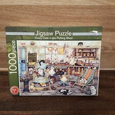 Jigsaw Puzzle 1000 pieces (House Of Puzzles) Crazy Cats in the Potting Shed 100%