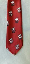 """Tie Shiny Red Santa Claus 3 3/8"""" Wide 58"""" Long Green Red and White"""