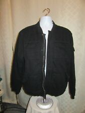 Men's Lined Jacket Bomber Old Navy XL Black 6 pockets 100% cotton Full Zip