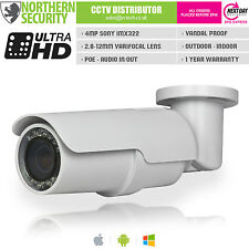 4MP 2.8-12mm 1080P Onvif P2P 72LEDs 60m Poe Audio Full HD mouvement caméra IP