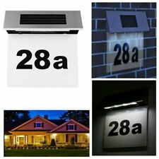 Led Wall Light Up Lamp Outdoor Solar Powered House Doorplate Sign Plaque Number