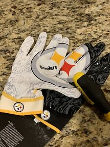 XL Black & White Pittsburgh Steelers LB26 Nike Superbad Football Gloves New
