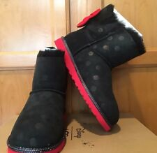 NEW GIRL AUTHENTIC UGG DISNEY MINNIE MOUSE SWEETIE BOW BLACK SUEDE BOOTS SIZE 5