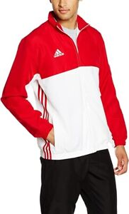 adidas T16 Team Mens Track Jacket Red White Ventilated Full Zip Sizes XXS - XL