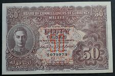 RARE 1941 Malaya Board of Commissioners of Currency 50c Banknote P 10a gVF