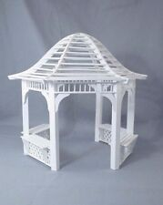 Gazebo garden outside dollhouse miniature furniture 1/12 scale T5368 wood white