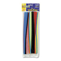 "Chenille Kraft Jumbo Stems, 12"" x 6mm, Metal Wire, Polyester, Assorted, 100/Pack"