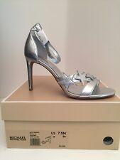 Michael Kors Lexie Silver Metallic Heel Sandals Size 7.5M *NEW
