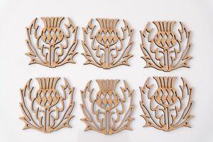 Wooden MDF Blank flower shape - Scottish Thistle - set of 6 items - 90 mm high