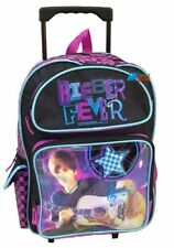 "Justin Bieber Large 16"" Cloth Backpack Book Bag Pack With Wheels - Pink"