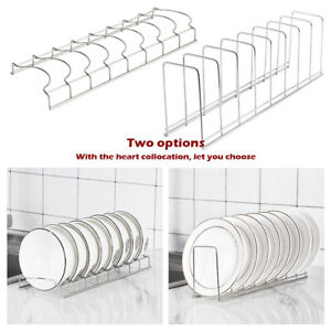 Pot Pan Lid Plate Stand Rack Organiser Stainless Steel House Kitchen Holder Home