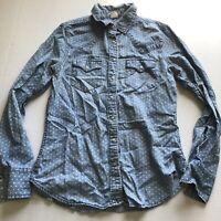 Levis Pearl Snap Button Up Polka Dot Chambray Shirt Sz S A2221
