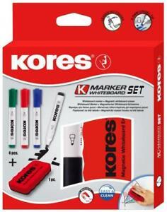 Whiteboard-Marker Set, 4 Marker + magnetischer Schwamm Tafellöscher Tafelwischer