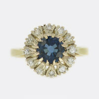 Vintage Sapphire and Diamond Cluster Ring 18ct Yellow Gold