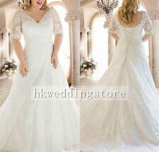 Custom White/Ivory Plus Size Chiffon Beaded Belt Bridal Gown Wedding Dress A1