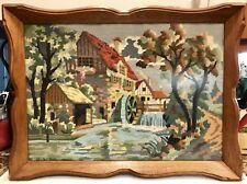ANTIQUE COUNTRY FOLK ART TEXTILE NEEDLEPOINT SAMPLER FRAMED WATERMILL TRAY