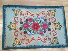 """Antique Hand Hooked Rug Light Green Floral, 39"""" x  26"""""""