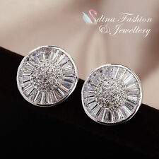 18K White Gold Plated Channel-Set Baguette Diamond Round Shaped Stud Earrings