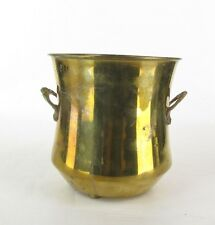 Vintage 70's 80's Footed Brass Planter Cache Pot w/ Handles