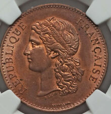 1889 France CENTENNIAL of 1789 Revolution Medal NGC MS 63 RB mostly Red