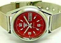seiko 5 automatic men's steel red dial 6309 vintage day/date japan watch run