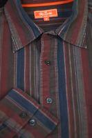 Faconnable Men's Burgundy Gray Stripe Cotton Casual Shirt M Medium