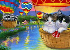 Kittens cat raccoon hot air balloons Valentine lake OE aceo print art