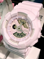 *NEW* CASIO LADIES BABY G SHOCK PASTEL PINK ALARM COMBI WATCH BA110-4A2 RRP £129