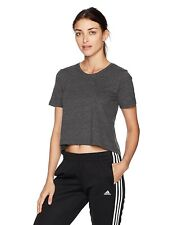ADIDAS Womens ClimaLite Open Back Cropped T Shirt Grey Size Medium - NWT