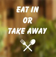 Eat in or Takeaway Shop sticker vinyl lettering Window front sign art graphics