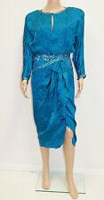 Vintage 80's  A J Bari Turquoise Blue Silk Bead Sequin Cocktail Dress  Sz 6