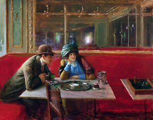 The Cafe  by Jean Beraud   Giclee Canvas Print Repro