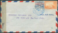COSTA RICA TO USA Air Mail Censored Cover 1945