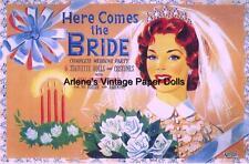 Vintge Uncut 1940S Here Comes Bride Paper Doll Hd~Laser Org Sz Reproduction~Lo