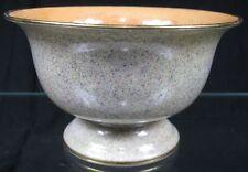 Vintage Noritake Footed Bowl Orange Luster Inside & Speckled Green