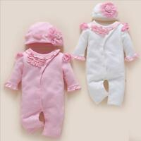 1 set Newborn baby girls twins clothes high quality bodysuit cotton jumpers+ hat