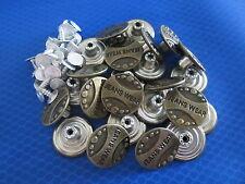25 x 20mm Press/Hammer On Letters Bronze Dark Brass Denim Jeans Buttons Pins