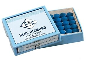 BLUE DIAMOND LEATHER CUE TIPS 9, 10 or 11mm Size For SNOOKER, POOL, BILLIARDS