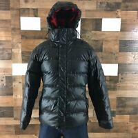 Women's Nike Puffer Jacket Black Lefty Zipper Snap Grey Goose Down Feathers Sz L