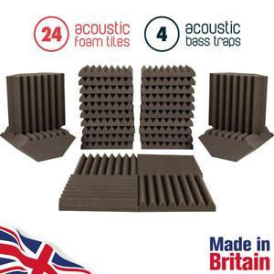 24 Acoustic Foam Tiles & 4 Bass Traps Grey – Professional Soundproofing Foam