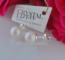 925 * SILVER STUDS EARRINGS MADE WITH SWAROVSKI ELEMENTS PEARL PEARLESCENT WHITE