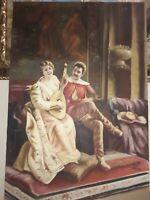 Quadro Dipinto a Mano Olio Su Tela scena coppia dama uomo 60x90 con telaio unico