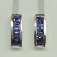 Edle 0,66 Carat Iolith Ohrstecker Wassersaphir 925 Silber Luchssaphir Ohrring