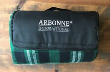 Arbonne Travel Blanket-Plaid-Green & Navy Blue-Handle-Employee Gift-Skin Care