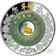 Laos YEAR OF THE RABBIT 2000 KIP Jade Lunar Gilded Silver Coin 2011 Proof 2 oz
