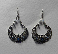 EXOTIC EASTERN STYLE EARRING SILVER PLATED HOOP EARRINGS WITH BLUE STONES
