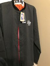 Houston Rockets Adidas Mens Size L  On Court Snap Front Jacket Gray New With Tag