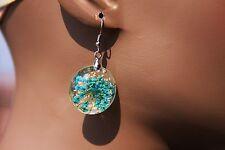 Handmade Blue Real Botanical dried flower 3D Clear Jewelry {Earrings}