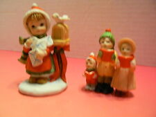 "2 Lefton China Girl with letter 3 1/4 "" tall  Carolers 2 1/4""  date 1986 EUC"