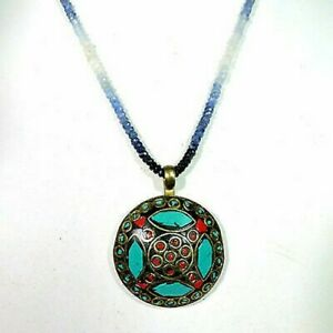 Natural Blue Sapphire Beads With Turquoise And Coral Pendant Jewellery A38-21 U0